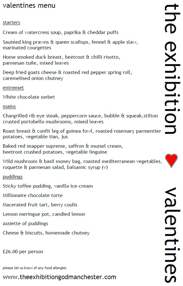 Valentines Menu for 14th and 15th Feb 2014