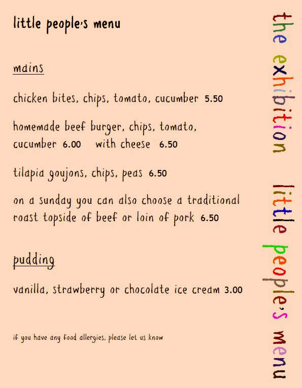 Childrens menu from the exhibition in Godmanchester