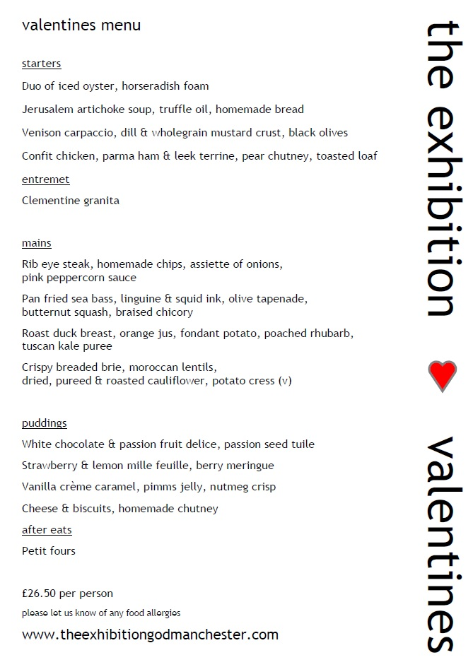 Valentines Menu from The Exhibition Godmanchester 2