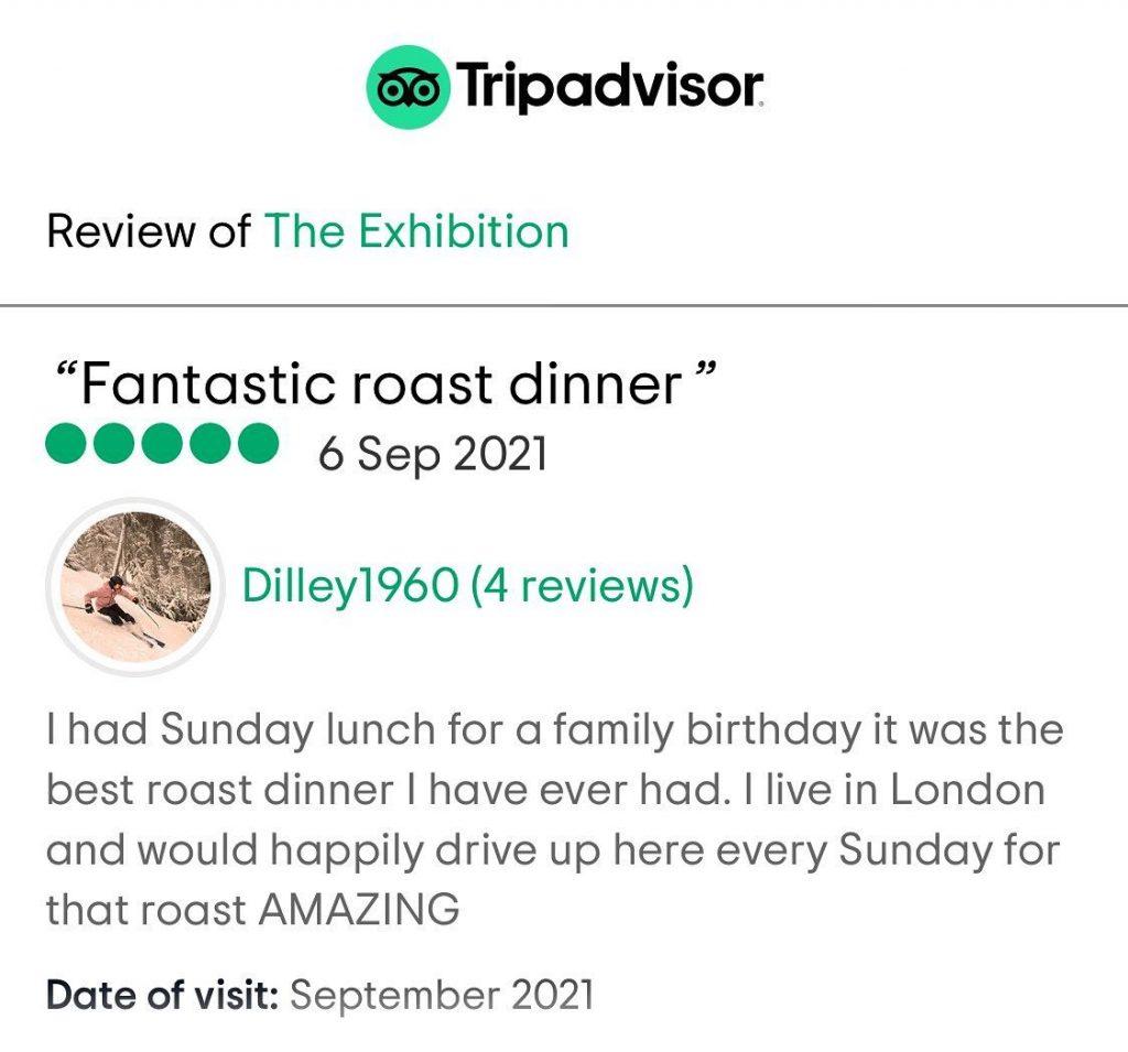 Sunday lunch review on TripAdvisor